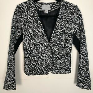 Women's H&M Zebra Animal Print Fitted Jacket Sz 4